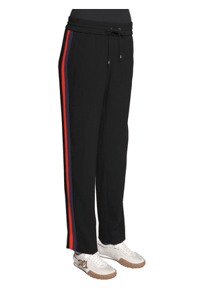 Contrasting Bands Crepe Track Pants