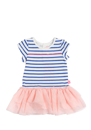 Striped Cotton Jersey & Tulle Dress