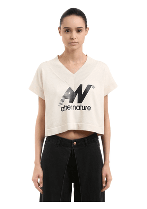 After Nature Print Cotton Crop Top