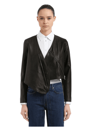Cropped Leather Bolero Jacket