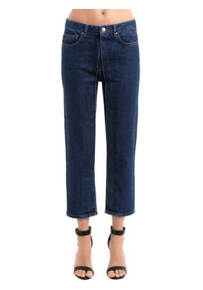 Pleated Cropped Cotton Denim Jeans
