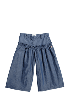 Cotton Chambray Wide Pants W/ Ruffle