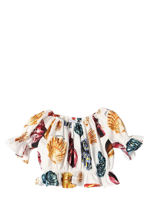 Seashells Print Cotton Poplin Crop Top