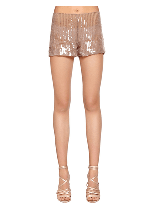 Beaded & Sequined Tulle Shorts