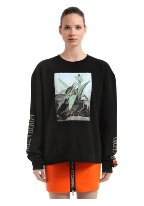 Green Heron Print Cotton Sweatshirt