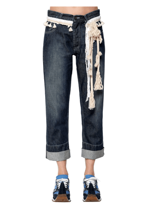 Cotton Denim Jeans W/ Rope Details