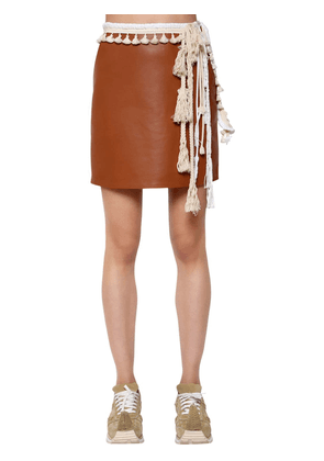Nappa Leather Mini Skirt W/ Rope Details