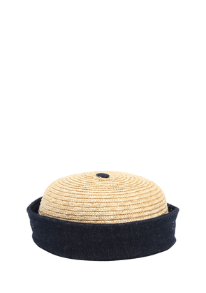 Handmade Straw & Cotton Denim Sailor Hat