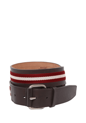 40mm Saffiano Leather Belt W/ Stripes