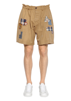 Cotton Twill Chino Shorts W/ Patches
