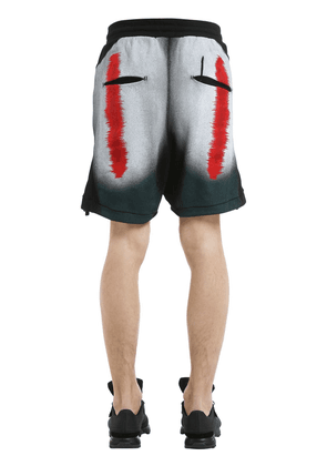 Distortion Print Cotton Jersey Shorts