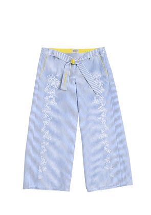 Embroidered Striped Cotton Oxford Pants