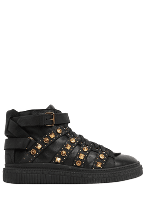 Studded Leather Mid Top Sneakers