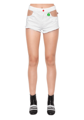 Swan Embroidered Denim Shorts W/ Cutouts
