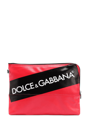Logo Tape Coated Canvas Pouch