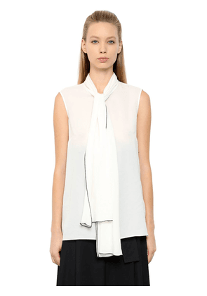 Double Silk Georgette Top W/ Bow Collar