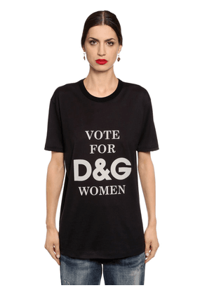 D&g Women Printed Cotton Jersey T-shirt