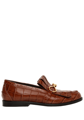 20mm Fringed Croc Embossed Loafers