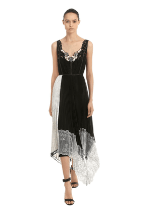 Embellished Patchwork Lace Midi Dress