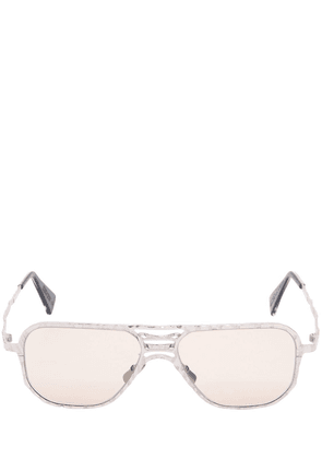 Silver Colored Hammered Metal Sunglasses