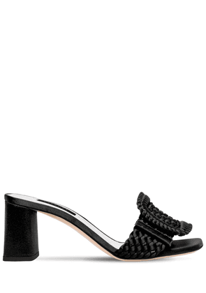 60mm Buckled Woven Satin Mule Sandals