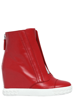 80mm Leather Wedge Sneakers
