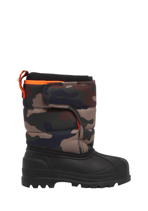 Logo Camo Nylon Canvas Snow Boots