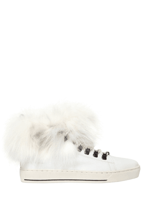 20mm Fox Fur & Leather Sneakers