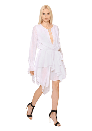 Long Sleeve Ruffled Cotton Voile Dress
