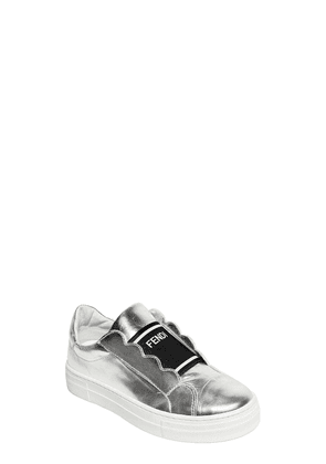 Metallic Leather Slip-on Sneakers