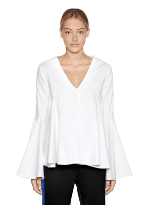 Flared V Neck Cotton Poplin Top