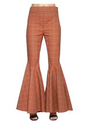 High Waisted Cotton Check Flared Pants