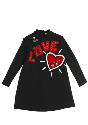 Love & Heart Patches Wool Sweater Dress