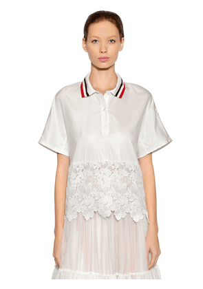 Cotton Silk Blend Twill & Lace Top