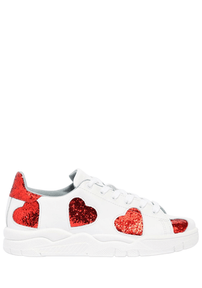 20mm Glittered Hearts Leather Sneakers