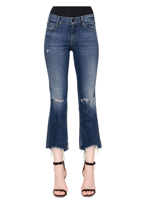 Mid Rise Selena Crop Bootcut Denim Jeans