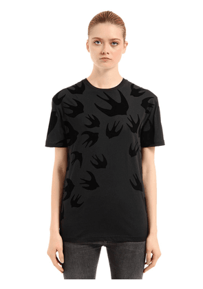 Swallow Flocked Cotton Jersey T-shirt