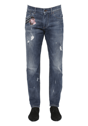 16.5cm Embroidered Stretch Denim Jeans