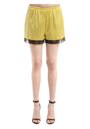 Silk Satin Lingerie Shorts With Lace