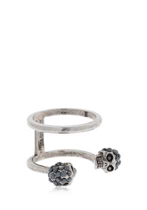 Silver Double Skulls Stacked Ring