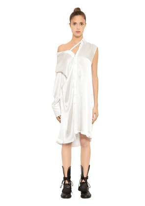 Asymmetrical Silk Satin Shirt Dress