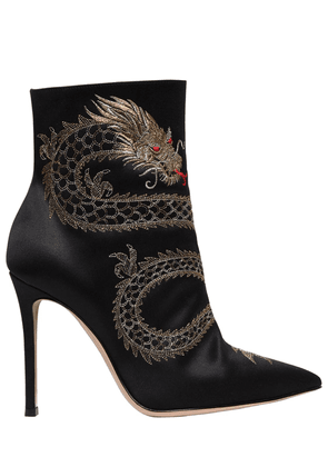 105mm Dragon Embroidered Satin Boots