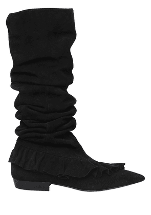 10mm Ruffle Suede Boots