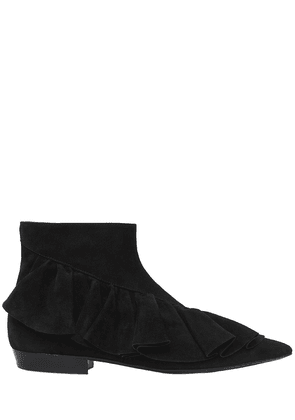 10mm Ruffle Suede Ankle Boots