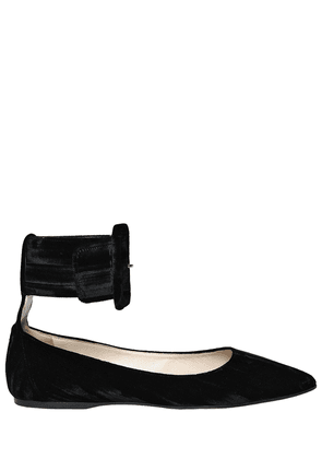 10mm Julia Ankle Strap Velvet Flats