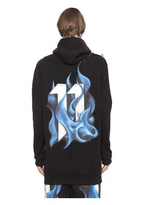 Hooded Printed Stretch Jersey Sweatshirt