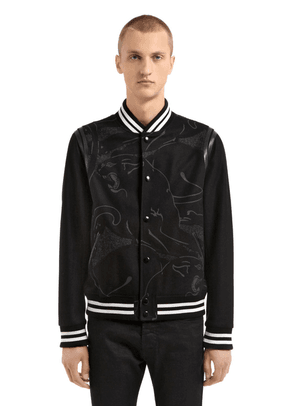 Panther Leather & Wool Varsity Jacket