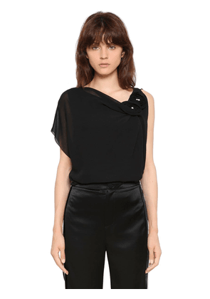 Silk Georgette Top With Roses