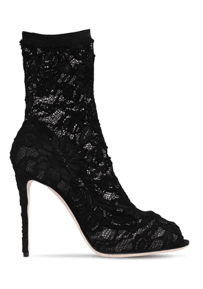 105mm Stretch Lace Open Toe Ankle Boots