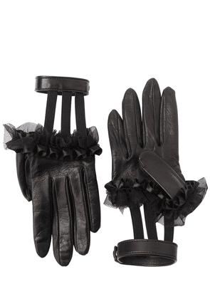 Ruffled Leather Gloves W/ Wrist Strap